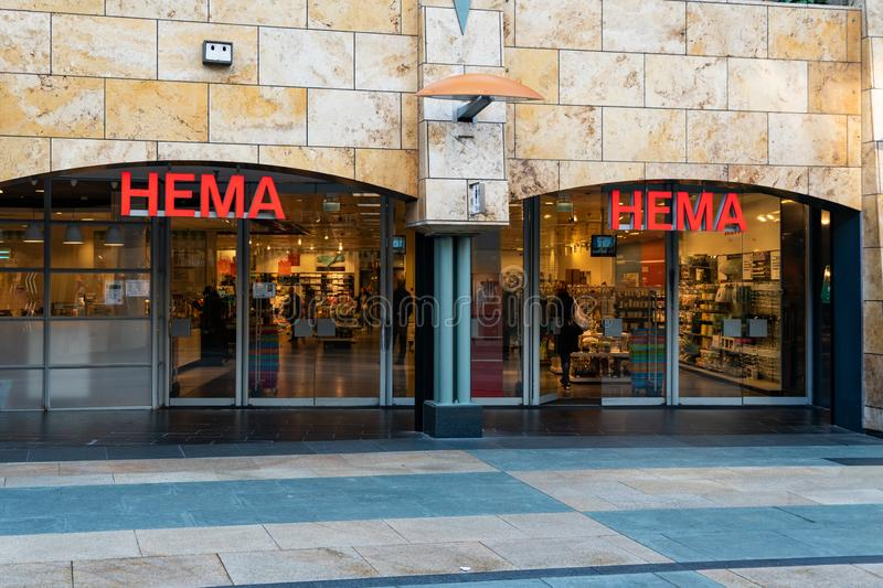 Rotterdam, The Netherlands - February 16, 2019: Entrance of a store called Hema. Hema is a Dutch discount retail chain royalty free stock photo