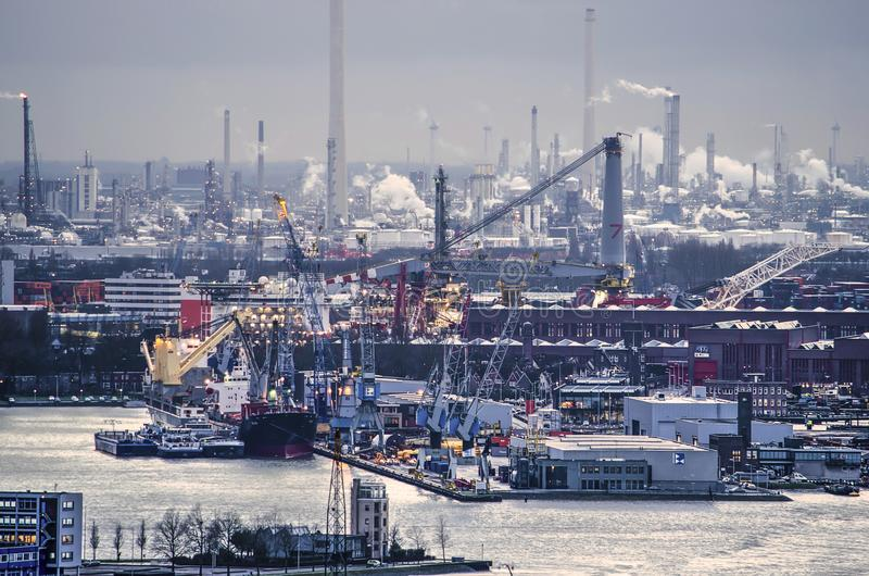 Harbour and refineries stock images