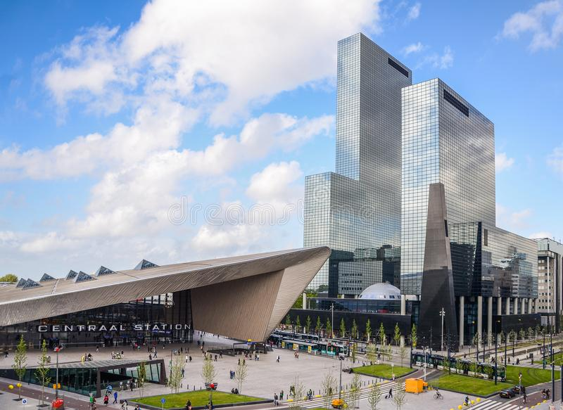 Rotterdam, Netherlands financial centre skyline, including the Central Station, which is an important transport hub with 110,000. Passengers per day stock photo