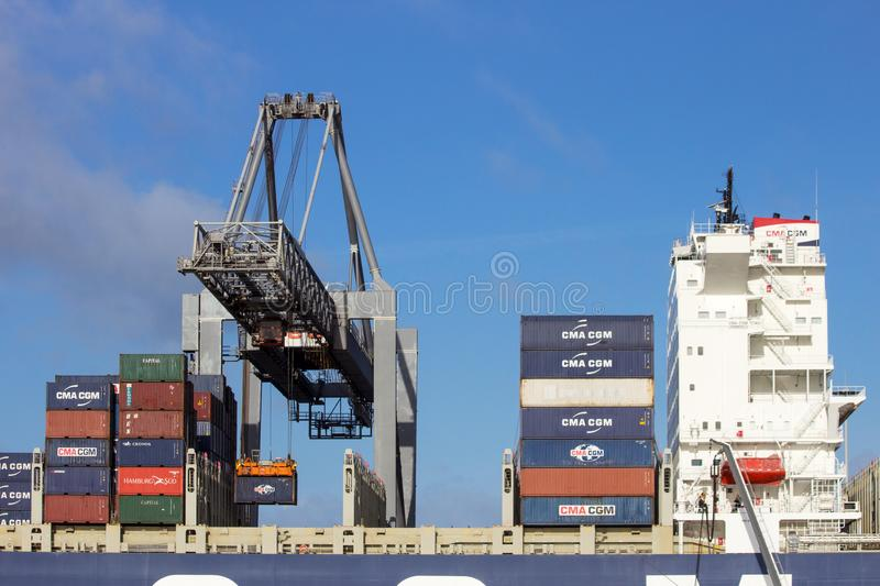 Container ship gantry cranes port of rotterdam stock photo
