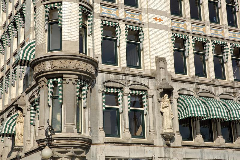 Close-up on the White House Witte Huis, Art Nouveau historical building, with details and carvings. ROTTERDAM, NETHERLANDS - JUNE 1, 2019: Close-up on the White royalty free stock photos