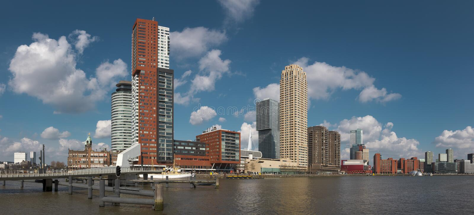 Rotterdam, The Netherlands, march 2020: panoramic view of the Rotterdam skyline at the Rijnhaven, beautiful sunny day. Panorama royalty free stock photo