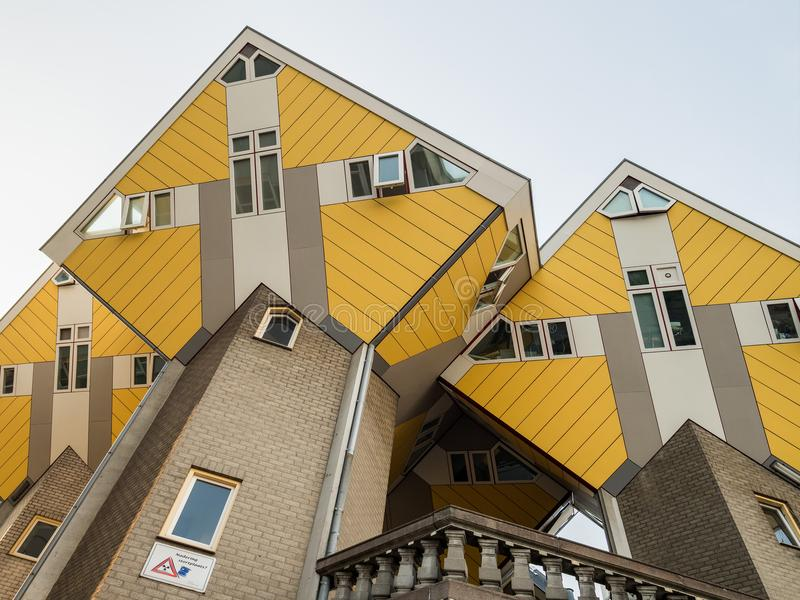 ROTTERDAM, NETHERLANDS - MAY 31, 2018: Cube houses Kubuswoningen - city most iconic attractions. Architect tilted a traditional, stock image