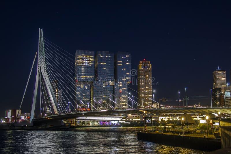 Rotterdam by night. Netherlands, Europe. Erasmus bridge area royalty free stock photo