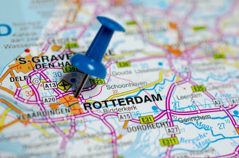 Rotterdam op kaart stock fotografie