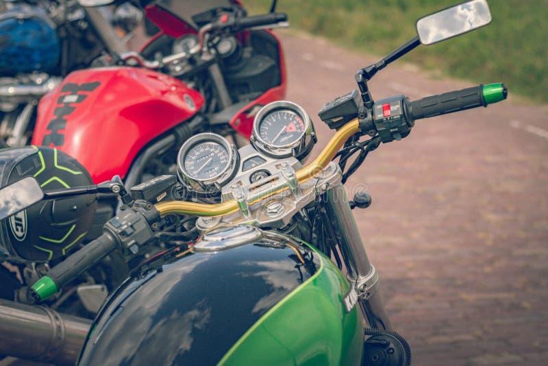 ROTTERDAM, PAÍSES BAJOS - 2 DE SEPTIEMBRE DE 2018: Las motocicletas son shini imagen de archivo libre de regalías