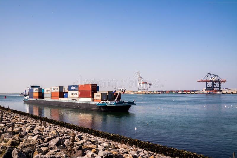 Rotterdam, Paesi Bassi - 20 aprile 2018: Il grande porto cranes le navi porta-container di caricamento nel porto di Rotterdam fotografie stock libere da diritti