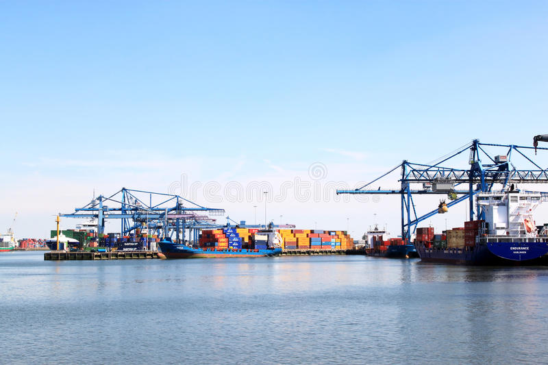 Rotterdam shipping port in the Netherlands. The port of Rotterdam in the Netherlands is the largest container port in Europe, a global hub and gateway for royalty free stock photos