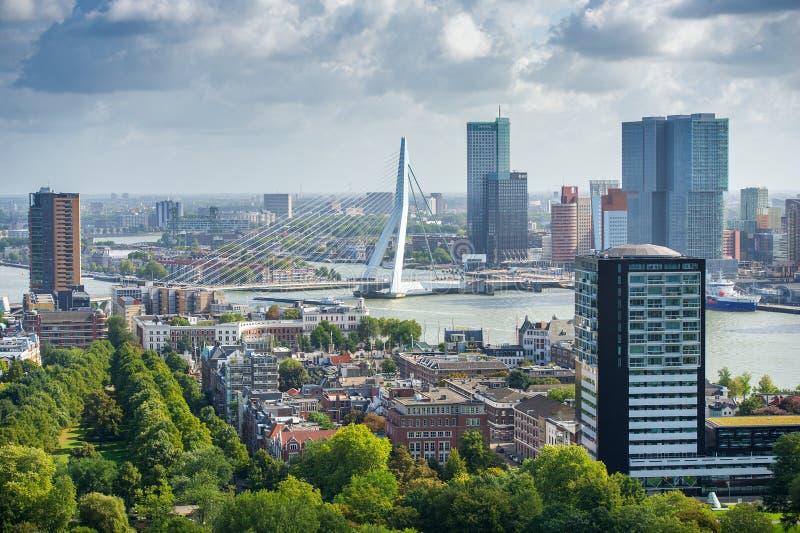 Rotterdam-Skyline mit Erasmus Bridge stockfotos