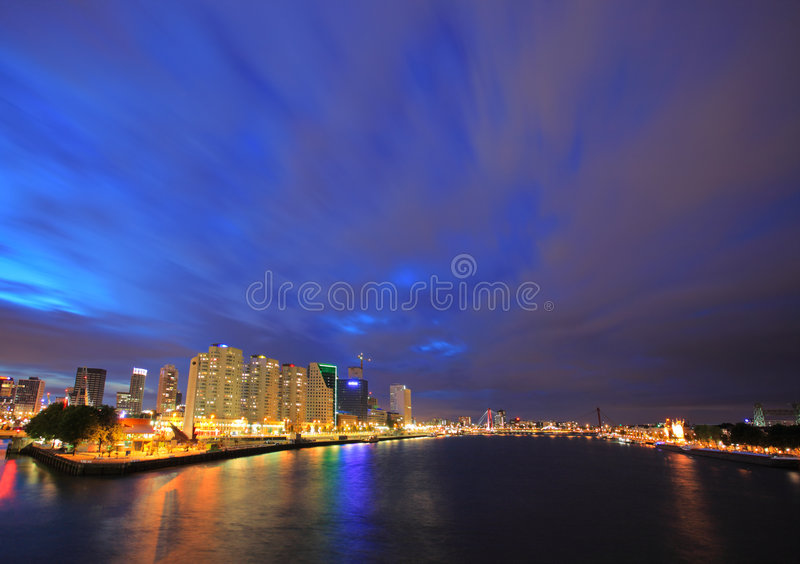 Download Rotterdam skyline at night stock image. Image of dusk - 5787593
