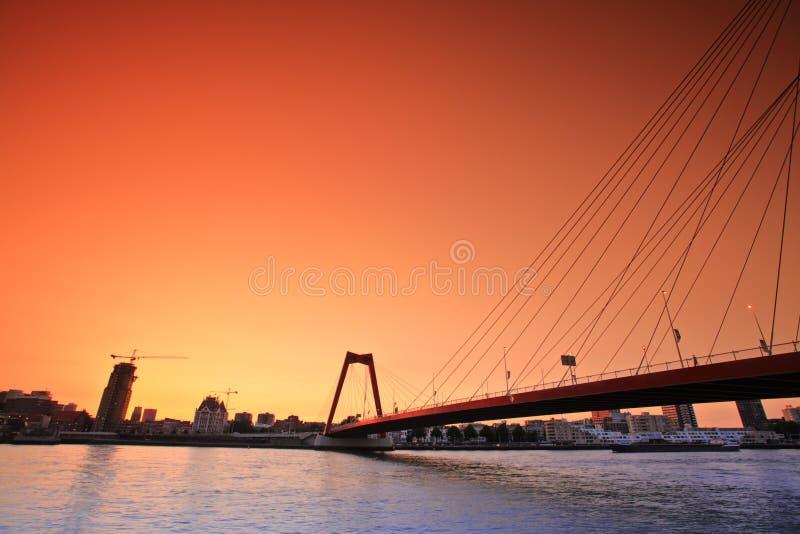 rotterdam solnedgångwillemsbridge royaltyfri fotografi