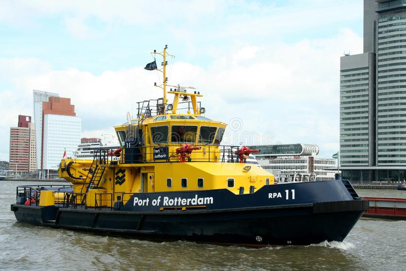 Port of Rotterdam tug boat. Rotterdam, South Holland,Netherlands,june 2015:Port of Rotterdam tug boat royalty free stock images