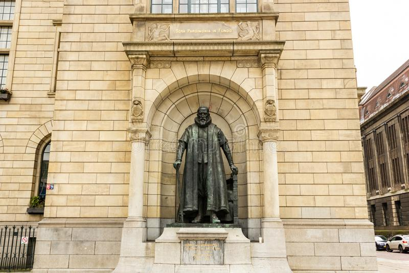 Rotterdam, South-Holland/the Netherlands - March 17 2018: Statue of Johan van Oldenbarnevelt in town hall facade stock photo