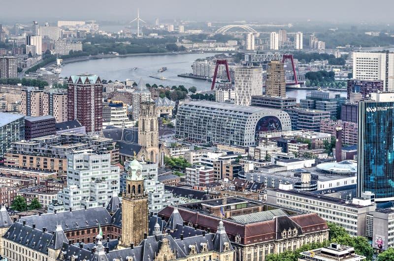 Rotterdam, widok od centrum miasta w kierunku południowych wschodów zdjęcia royalty free