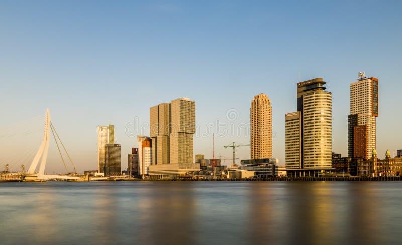Rotterdam Wilhelminapier con la luz de la tarde del puente fotografía de archivo