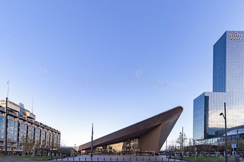 Rotterdan central station with the early morning light stock photo