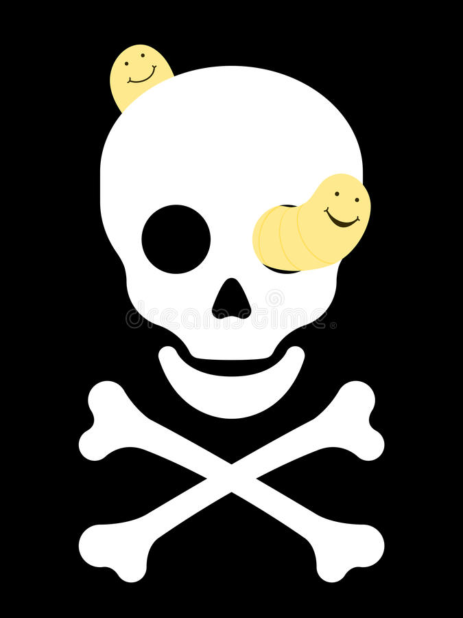 Download Rotting Skull With Worms And Crossbones Stock Vector - Illustration of smile, silhouette: 11881025