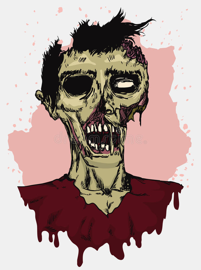 Rotting Zombie in Hand Draw Style, Vector Illustration. Zombie rotting all over in hand drawn style on beige and white background royalty free illustration