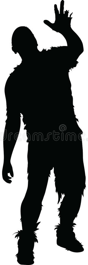Rotting Zombie. A rotting silhouette zombie reaches and staggers royalty free illustration