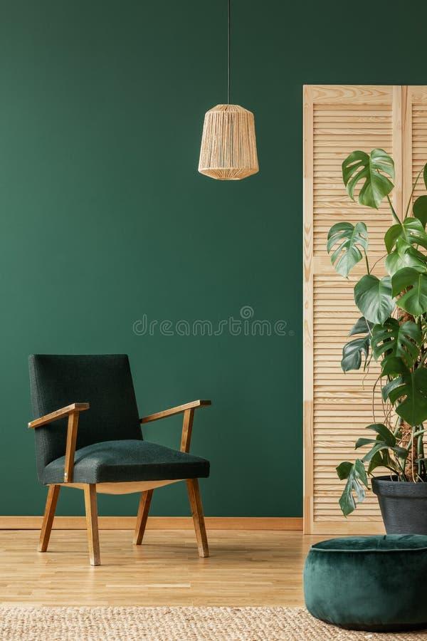 Rottingfåtölj ovanför retro mörkt - grön fåtölj, kopieringsutrymme på den tomma gröna väggen royaltyfria foton