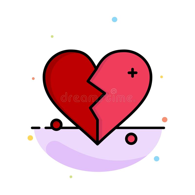 Rotto, amore, cuore, modello piano astratto dell'icona di colore di nozze royalty illustrazione gratis