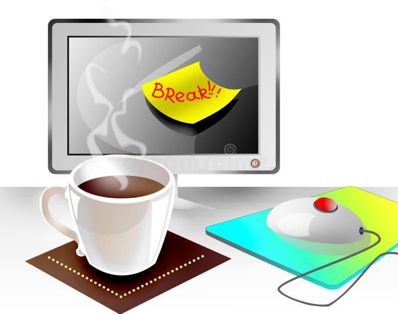 Rottura all'ufficio con la protezione di caffè illustrazione di stock