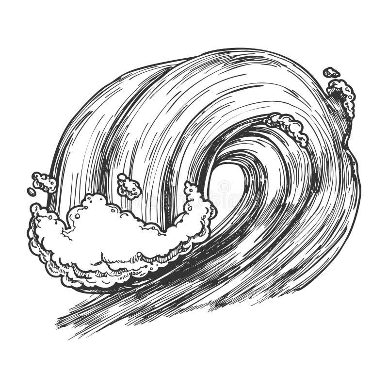 Rottura del mare tropicale Marine Wave Storm Vector illustrazione di stock