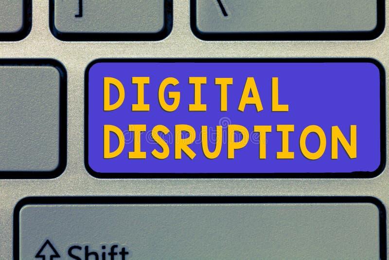Rottura di Digital del testo della scrittura Cambiamenti di significato di concetto che colpiscono la trasformazione del prodotto immagine stock libera da diritti