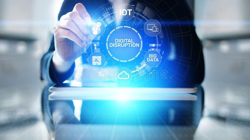 Rottura di Digital Idee disgregative di affari Internet delle cose, rete, città astuta, grandi dati, nuvola, analisi dei dati, AI immagini stock libere da diritti