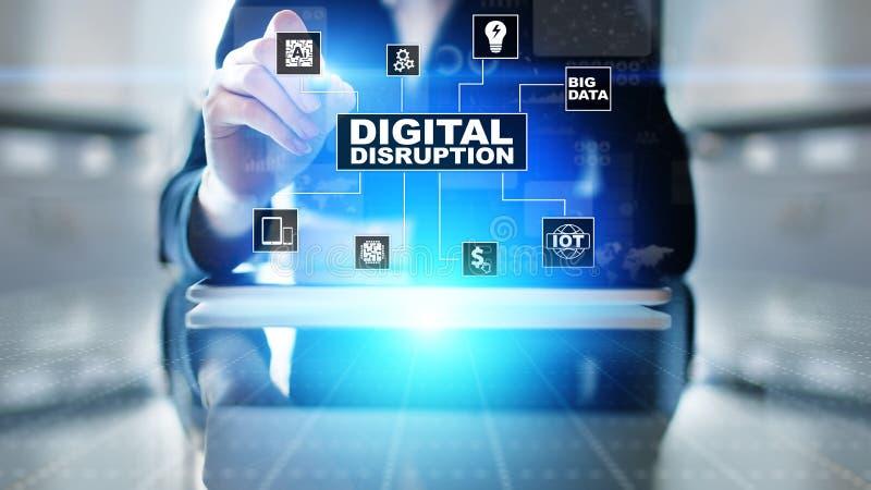 Rottura di Digital Idee disgregative di affari IOT, città astuta, grandi dati, nuvola, analisi dei dati, intelligenza artificiale fotografia stock