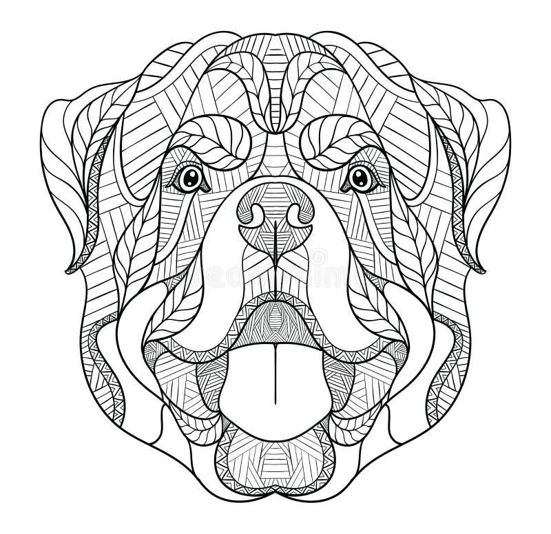Rottweiler狗zentangle,乱画风格化头,手拉,样式 禅宗艺术 华丽传染媒介 在白色的黑白例证 向量例证