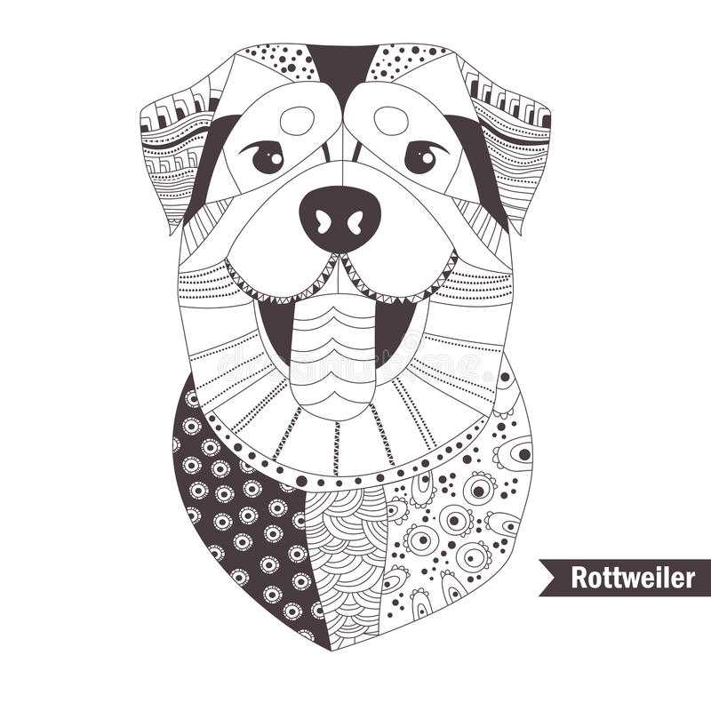 Rottweiler. Coloring book stock vector. Illustration of colouring ...