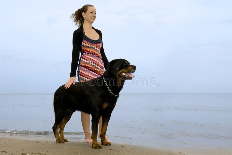Rottweiler et femme sur la plage photos libres de droits
