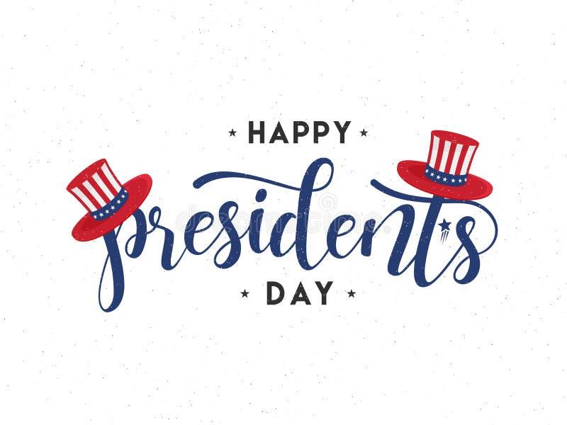 Rotulação à moda do Dia do presidente com o chapéu do tio Sam no fundo branco ilustração stock