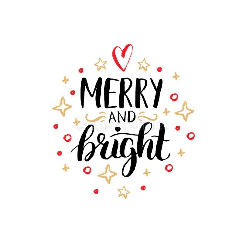 Rotulação alegre e brilhante no fundo festivo Ilustração tirada mão do Natal do vetor Boas festas cartão ilustração royalty free
