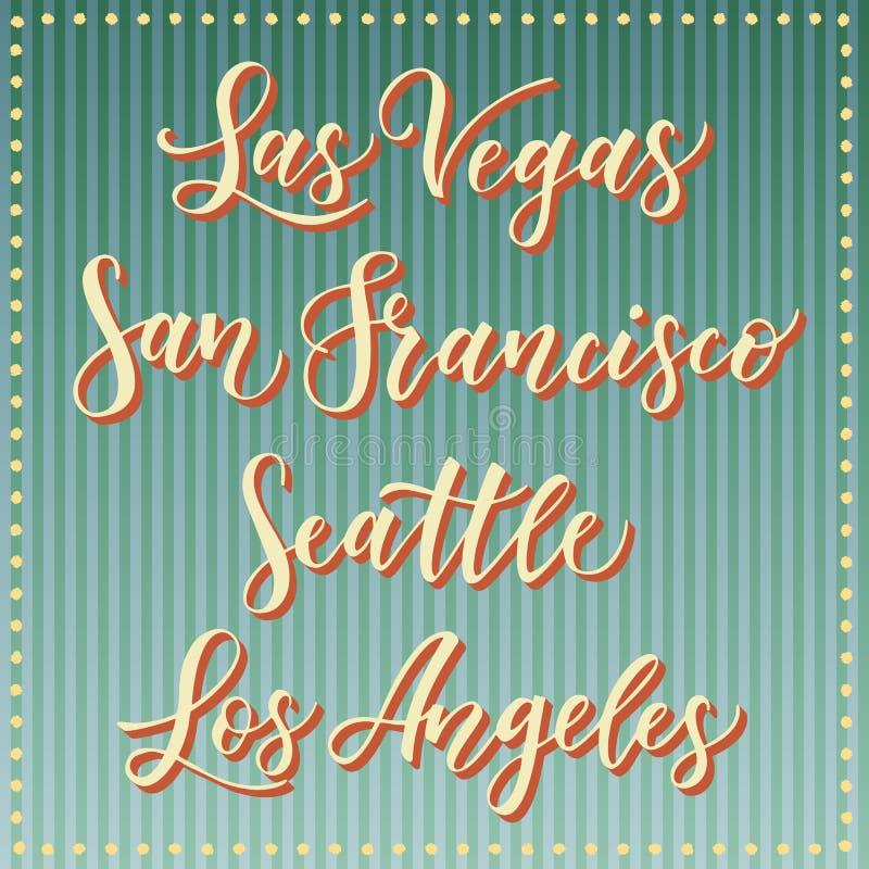 Rotulação americana do vetor da cidade Tipografia, EUA - Las Vegas, San Francisco, Seattle, Los Angeles no fundo azul listrado re ilustração do vetor