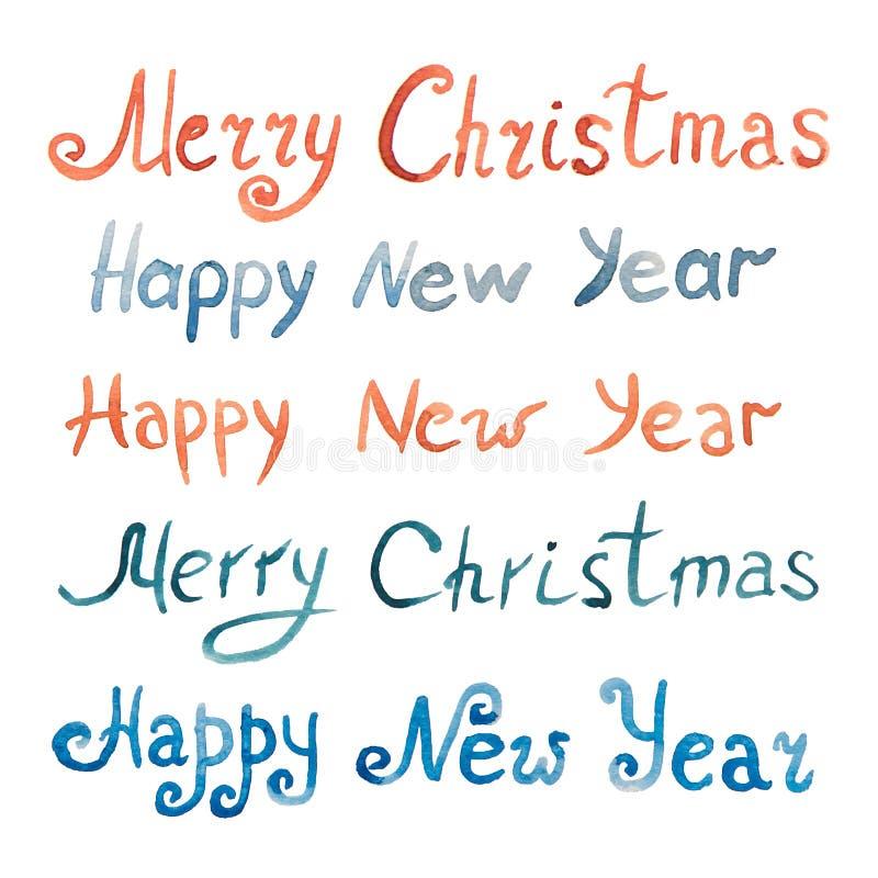 Rotulação azul e vermelha de um ano novo feliz e Feliz Natal ilustração royalty free