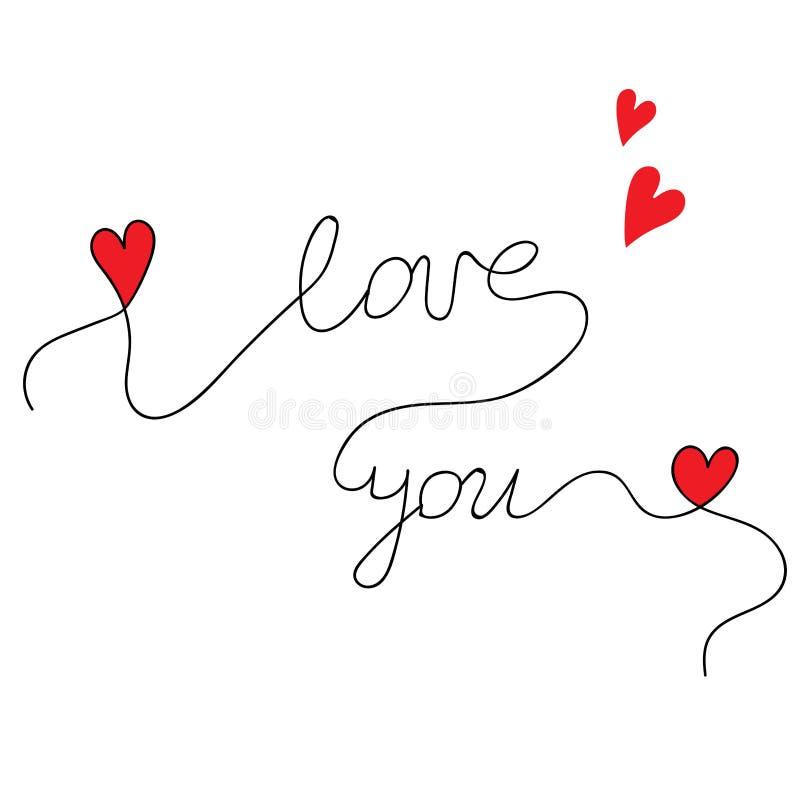 Rotulação bonita eu te amo com corações vermelhos pequenos ilustração stock