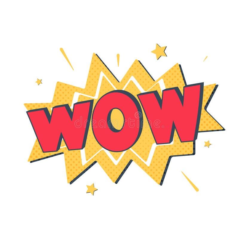 Rotulação cômica uau Vector a ilustração brilhante dos desenhos animados no estilo retro do pop art Efeitos sadios do texto cômic ilustração royalty free