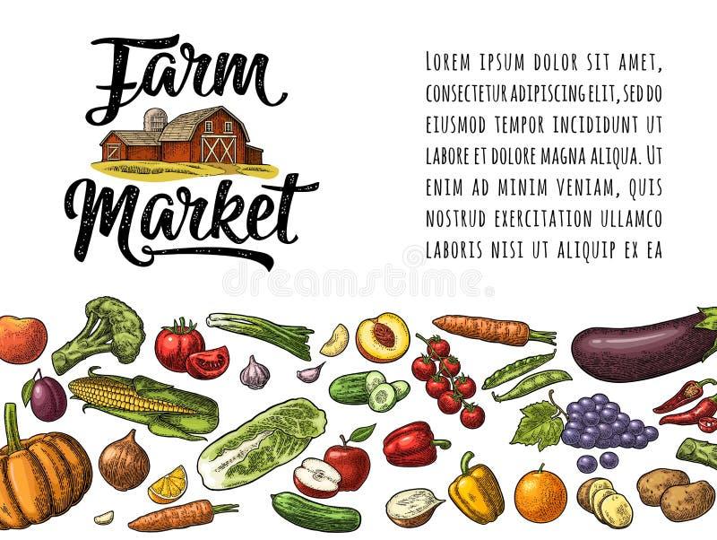 Rotulação caligráfica do mercado da exploração agrícola com hangar Vintage da gravura do vetor ilustração stock