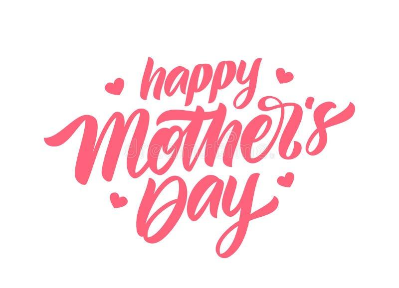 Rotulação caligráfica escrita à mão do dia de mãe feliz com corações no fundo branco ilustração royalty free
