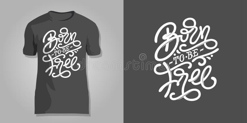 Rotulação CARREGADA ESTAR LIVRE na obscuridade - fundo cinzento para imprimir nos t-shirt, tampas do bloco de notas, blocos de de ilustração stock