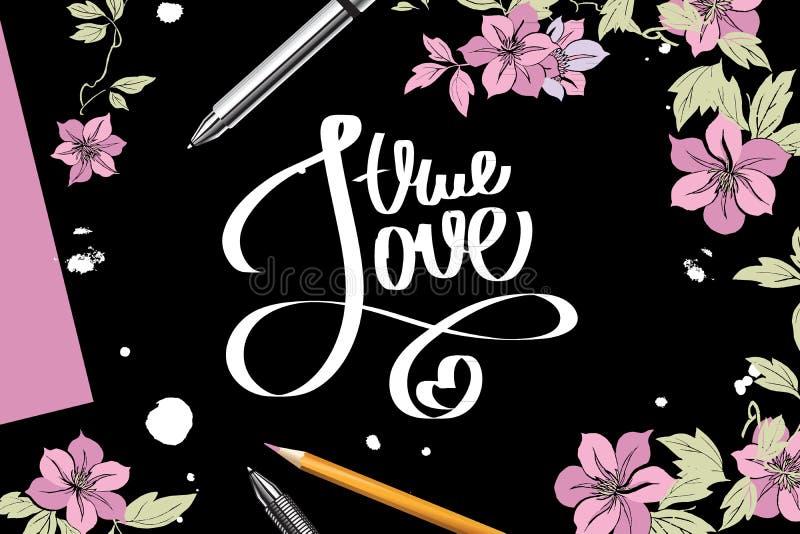 Rotulação com amor verdadeiro ilustração royalty free