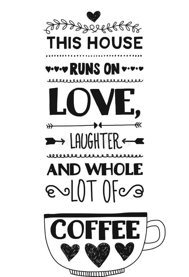 Rotulação com citações sobre o café ilustração do vetor