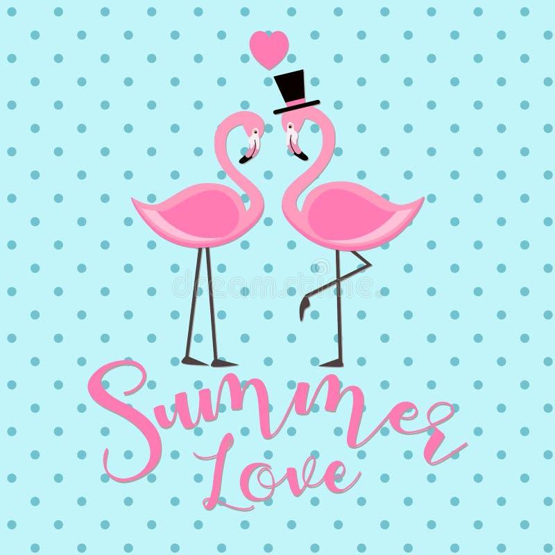 A rotulação cor-de-rosa do amor do verão do flamingo isolou a ilustração na luz - fundo azul ilustração royalty free