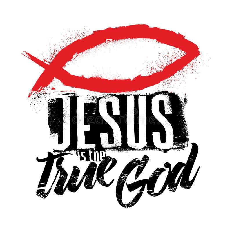 Rotulação da Bíblia Christian Art Jesus é o deus verdadeiro ilustração do vetor