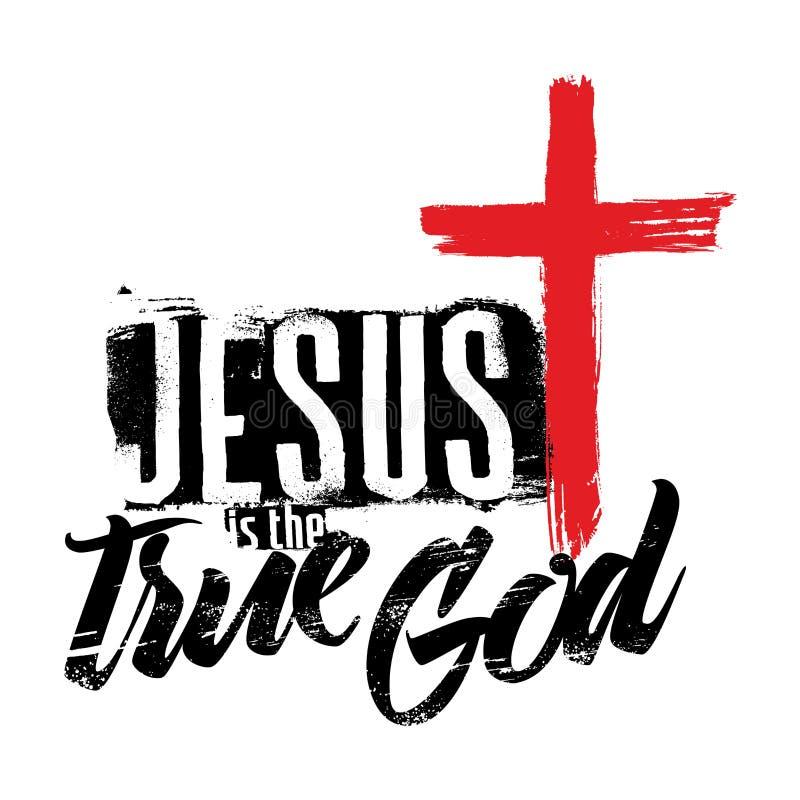 Rotulação da Bíblia Christian Art Jesus é o deus verdadeiro ilustração royalty free