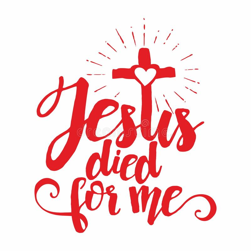Rotulação da Bíblia Christian Art Jesus morreu para mim ilustração do vetor