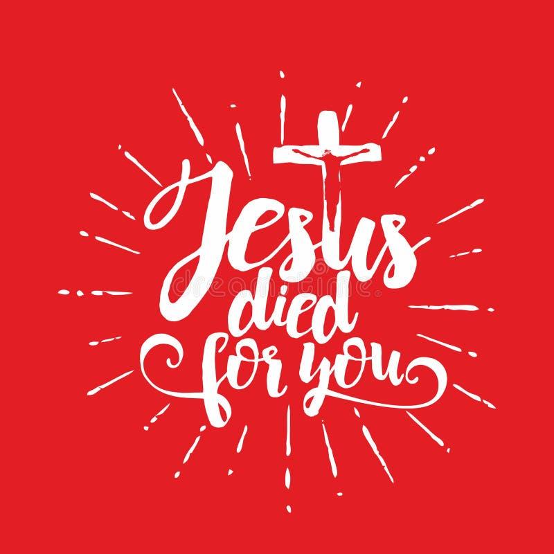 Rotulação da Bíblia Christian Art Jesus morreu para você ilustração do vetor