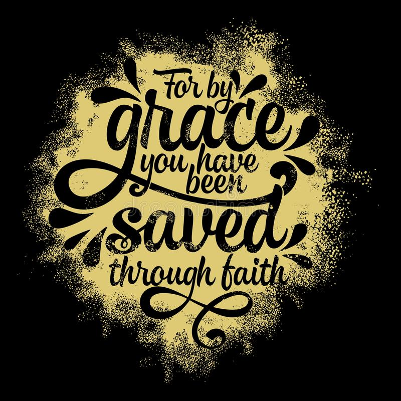Rotulação da Bíblia Ilustração cristã Para pela benevolência você salvar com a fé ilustração royalty free